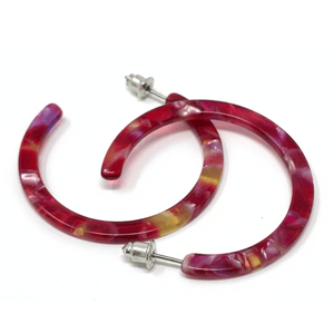 Red Marbled Resin Circle Hoop Earrings - Fashion Earrings