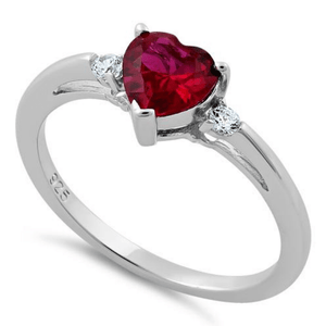Red Ruby Heart CZ .925 Sterling Silver Ring For Women - SeaSpray Jewelry