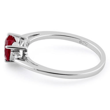 Red Ruby Heart & Cz .925 Sterling Silver Ring For Women - SeaSpray Jewelry