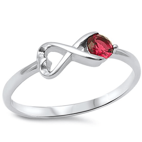 Red Ruby Infinity Sterling Silver Ring For Women - SeaSpray Jewelry