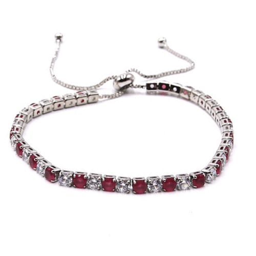Red & White CZ Slide Bolo Tennis Bracelet In Silver - Women's Fashion Jewelry