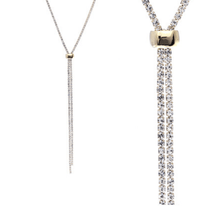 Rhinestone Slide Necklace In Gold - Fashion Jewelry For Women