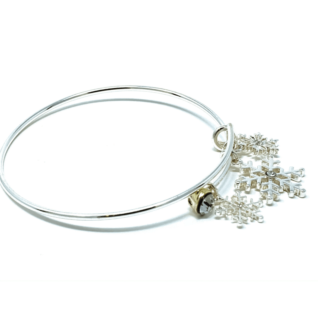 Silver Snowflake Bangle Christmas Bracelet - SeaSpray Jewelry