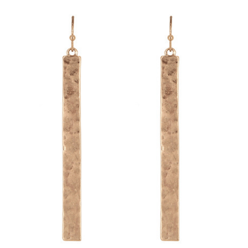 Rose Gold Hammered Rectangle Bar Drop Earrings - Fashion Jewelry