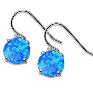 Round Blue Opal Sterling Silver Dangle Earrings - SeaSpray Jewelry