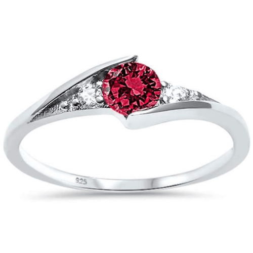 Round Ruby Solitaire Fashion .925 Sterling Silver Ring - SeaSpray Jewelry