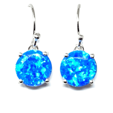 Round Sterling Silver Blue Opal Dangle Earrings - SeaSpray Jewlery