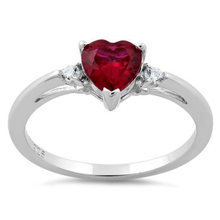 Ruby Heart & CZ .925 Sterling Silver Ring For Women - SeaSpray Jewelry