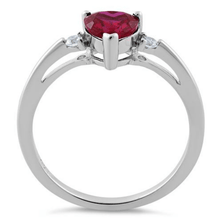 Ruby Heart Cz .925 Sterling Silver Ring For Women - SeaSpray Jewelry