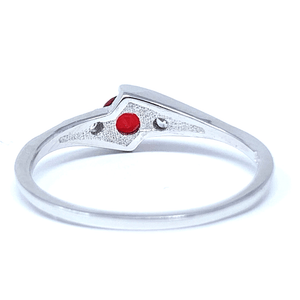 Ruby Solitaire Round Cut .925 Sterling Silver Ring For Women - SeaSpray Jewelry