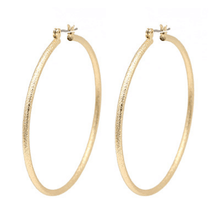 Sand Blast Gold Hoop Earrings For Women - Fashion Jewelry