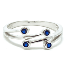 Sapphire Bezel Wraparound .925 Sterling Silver Ring - Fashion Jewelry