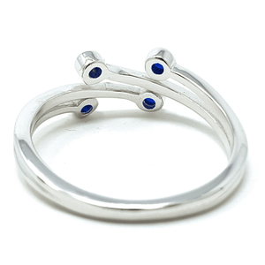 Sapphire Bezel Wraparound Sterling Silver Ring - Fashion Jewelry