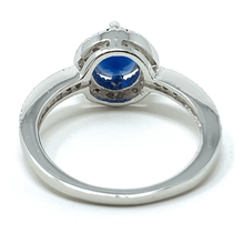Sapphire Halo Style .925 Sterling Silver Ring For Women - Fashion Jewelry