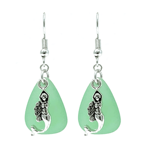 Sea Glass Silver Mermaid Earrings