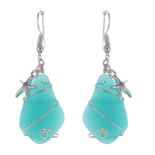 Sea Glass Starfish Dangle Earrings In Silver - Fashion Jewelry