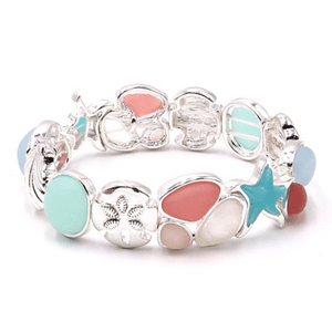Pink Sea Glass Starfish Stretch Bracelet In Antique Silver