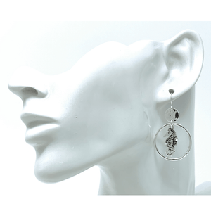 Seahorse Circle Hoop Dangle Silver Earrings For Women - Fashion Jewelry