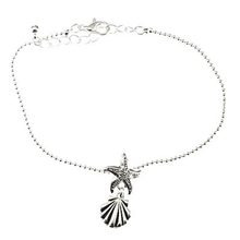 Seashell & Starfish Charm Silver Chain Anklet