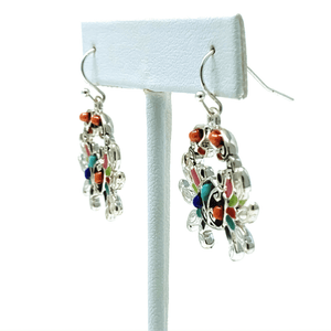 Seed Bead Silver Crab Summer Dangle Earrings - Beach Jewelry