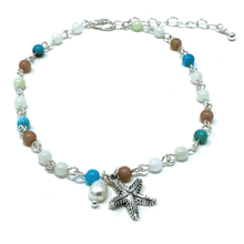 Silver Starfish Beaded Anklet Bracelet