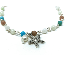 Silver Starfish Beaded Anklet