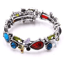 Silver Adjustable Crystal Flower Bangle Bracelet - Fashion Jewelry For Women