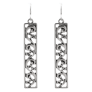 Silver Filigree Bar Rectangle Drop Earrings For Women
