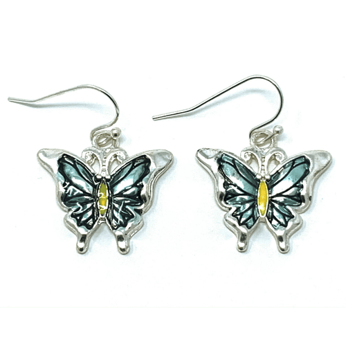 Silver Blue Butterfly Dangle Earrings - Butterfly Jewelry