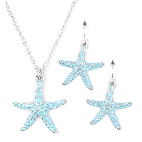 Silver & Blue Starfish Pendant Necklace Set