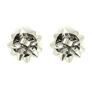 Silver Bow Stud Christmas Earrings - Christmas Jewelry