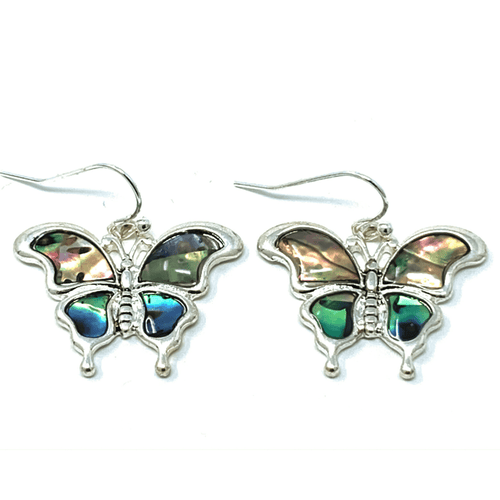 Silver Butterfly Abalone Dangle Earrings - Butterfly Earrings