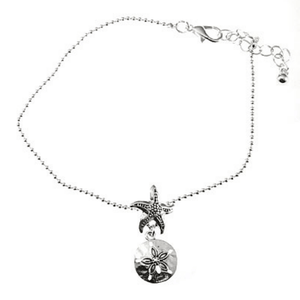 Silver Chain Anklet With Sand Dollar Charm - Ankle Bracelet