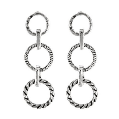 Silver Open Circle Chain Link Stud Earrings - Fashion Earrings