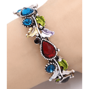 Multi Color Crystal Adjustable Flower Bangle Bracelet In Silver - Costume Jewelry For Women