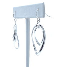 Silver Curve Double Hoop Dangle Earrings For Women - Costume Jewelry