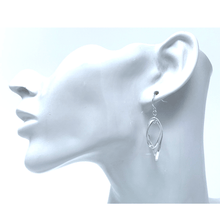 Silver Curve Twist Double Hoop Dangle Earrings For Women - Fashion Jewelry