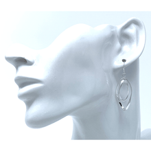 Silver Curve Twist Hoop Dangle Earrings For Women - Fashion Jewelry