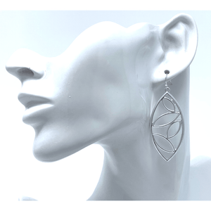 Silver Cutout Leaf Design Teardrop Earrings For Women - Fashion Jewelry