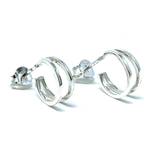 Silver Dainty Double Half Hoop Earrings - Sterling Silver Jewelry