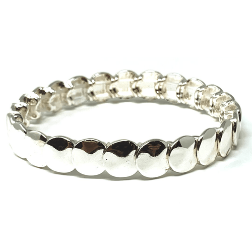 Silver Disc Stacking Stretch Bracelet - Fashion Jewelry