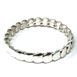 Silver Disc Stacking Stretch Bracelet - Costume Jewlery