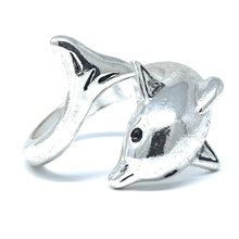 Silver Dolphin Adjustable Wrap Ring - Dolphin Jewelry