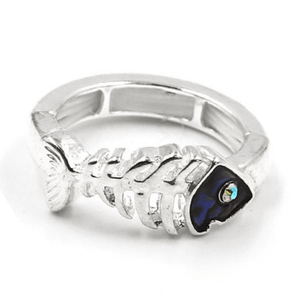 Silver Fish Bone Stretch Ring With Rhinestone - Beach Jewelry