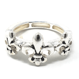 Silver Fleur De Lis Stretch Ring For Women - Statement Jewelry