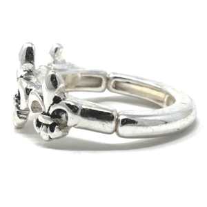 Silver Fleur De Lis Stretch Ring - Statement Jewelry