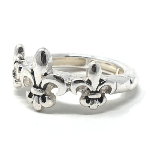 Silver Fleur De Lis Stretch Ring For Women - Fashion Jewelry