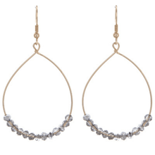 Silver Glass Beaded Teardrop Earrings In Gold - Fashion Jewelry