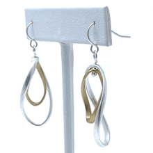 Silver & Gold Modern Curve Twist Hoop Dangle Earrings For Women - Costume Jewelry