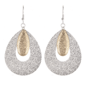 Silver & Gold Teardrop Dangle Earrings - Fashion Jewelry Earrings For Women